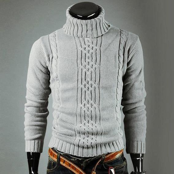 Suéter Casual Para Hombres Con Cuello De Tortuga Manga Larga