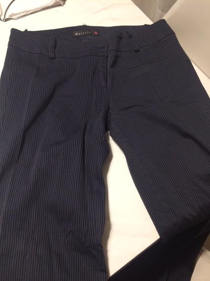 Pantalon De Vestir Materia Talle M Rayado Gris Y Negro!