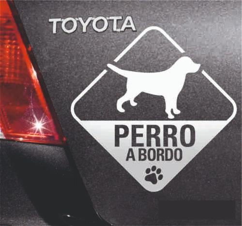 Calco Vinilo Perro A Bordo, Diferentes Colores 20 X 20 Cm