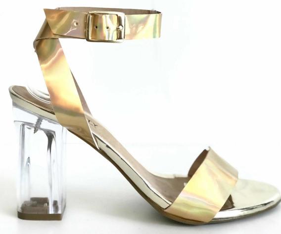 Sandália Transparente Salto Bloco Acrílico Neon Moda