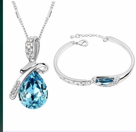Conjunto Colar E Pulseira Pedra Azul Luxo Pedra Swarovski