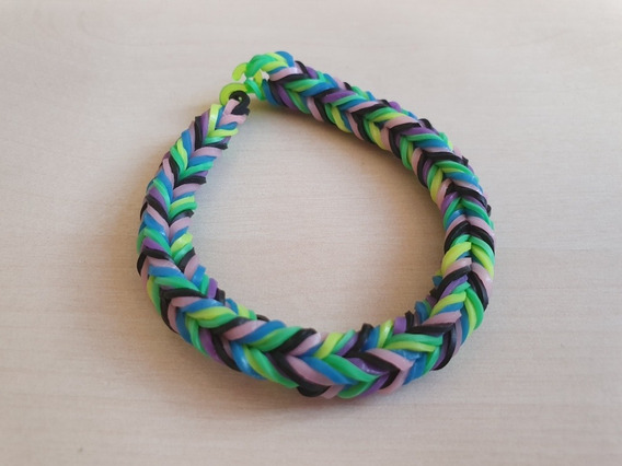Pulseira Elastico 3 - Rainbow Loom 7 Unidades Coloridas Moda
