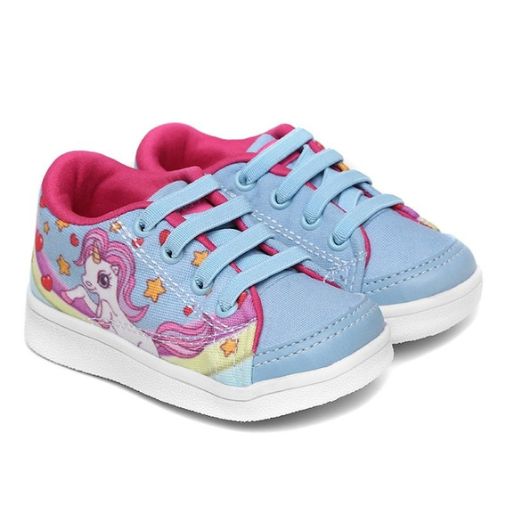 Tênis Infantil Bee Happy Unicórnio - Azul Bb / Pink
