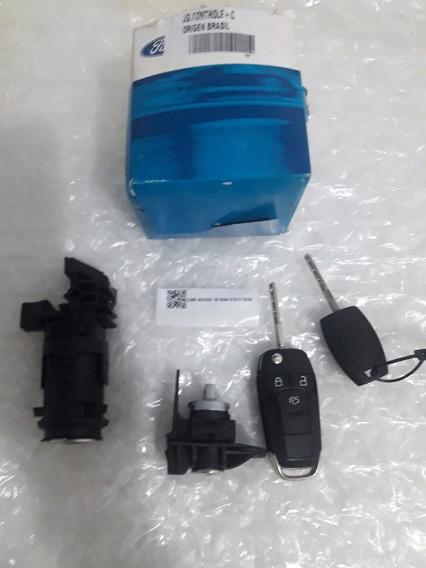 Kit Cilindro Ignição Porta Chave Controle Ford Novo Ka