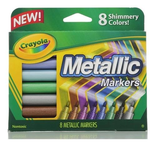 Imagen 1 de 3 de Marcadores Crayola Metallicos 8 Unidades