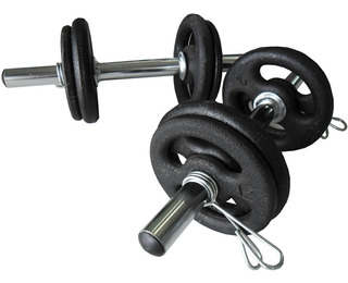 Kit Halter Musculação Peso Completo Anilhas Barras Presilhas