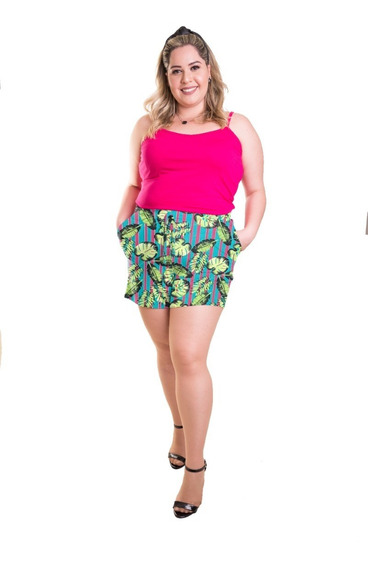 Roupa Feminina Plus Size Conjunto Short De Malha E Regata