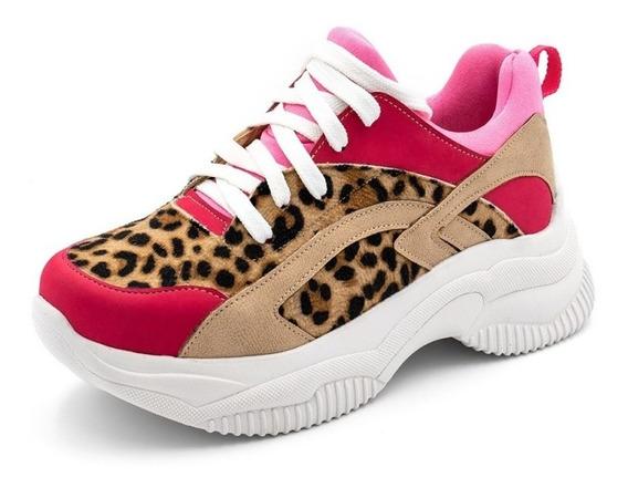Tênis Sneakers Chuncky Recortes Em Napa Rosa Pink