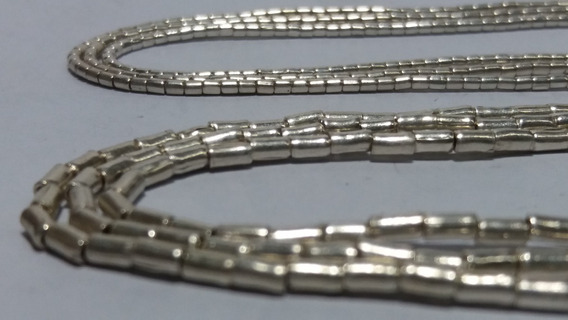 Collar Mostacilla Fina De Plata 100 Centímetros