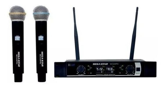 Microfone Profissional Duplo Megastar Mic-5538 Sem Fio Bivol