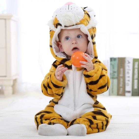 Macacão Bebê Microfibra Tigre Capuz Inverno Importado