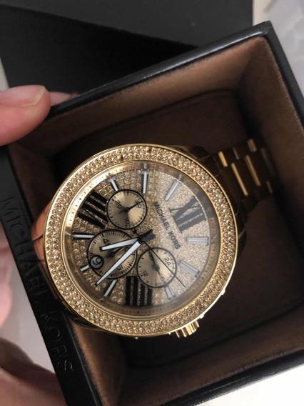 Reloj Michael Lira Original Poco Uso Dorado Con Cristales