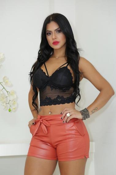 Shorts Em Cirre Feminino Com Laço Modelo 2019
