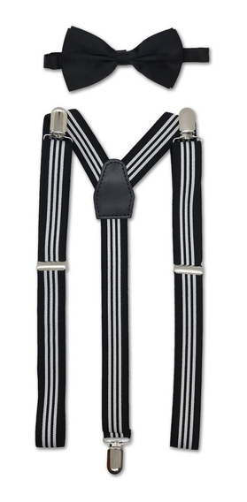 Kit Moño Y Tiradores Rayados Hombre Mujer Para Pantalon