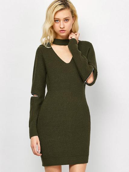 Vestido Corto Ajustado Suéter Para Las Mujeres M-2xl