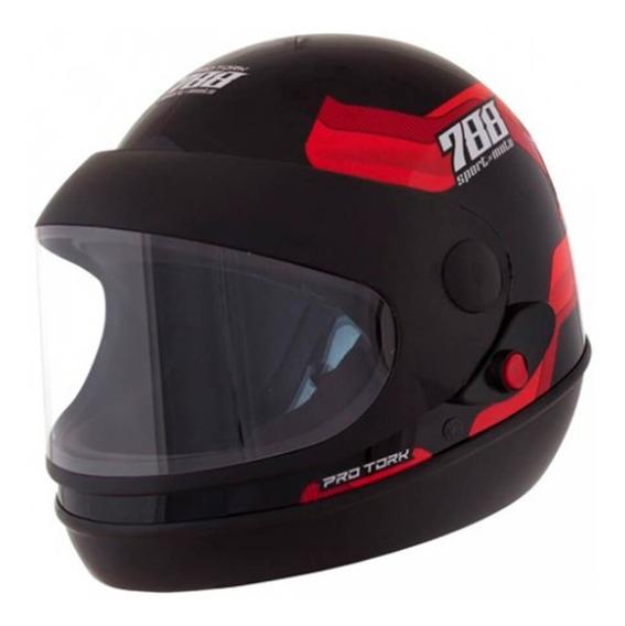 Capacete Sport Moto 788 Preto E Vermelho Tamanho 60 Cap-496v