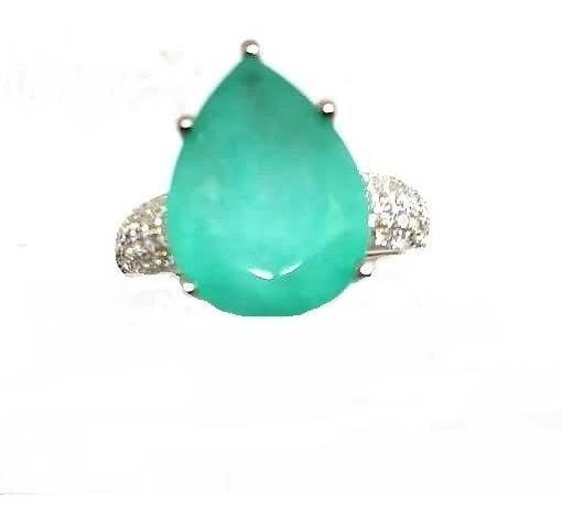 Gw8-anel Prata925 Cristal Tom Turmalina Paraiba Zirconias