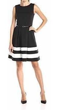Vestido Calvin Klein Negro Y Blanco Con Cinturón De Regalo
