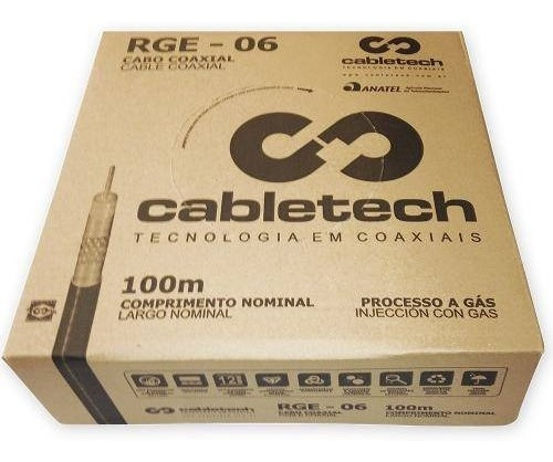 Cabo Coaxial Rge-06 60% X-100(br) Branco Cabletech