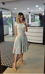 Vestido Feminino Rodado Midi Com Cinto Moda Evangélica Zíper