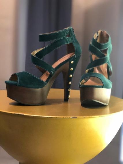 Zapatos Abiertos De Mujer Sandalia Zapatilla De Tacon Nuevos
