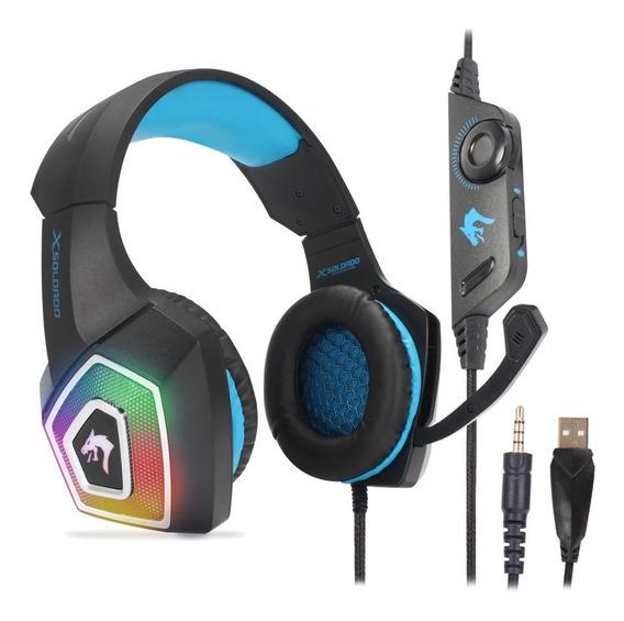 Fone Headset Gamer Para Pc Ps4 Celular Xbox One P2 Led Bass