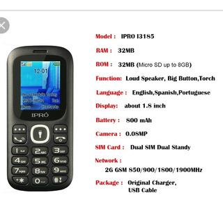 Telefono Ipro I3185 Economico Barato Dual Chip Liberado