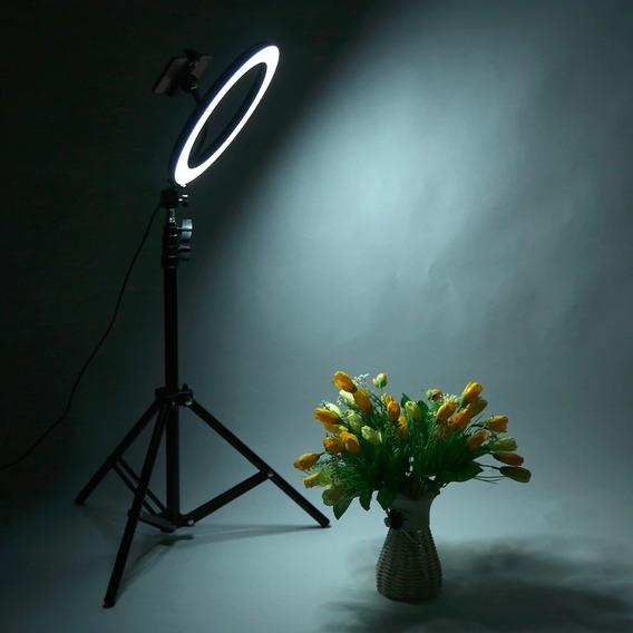 Ring Light Iluminação Led Foto Maquiagem 26 Diâmetro E Tripé
