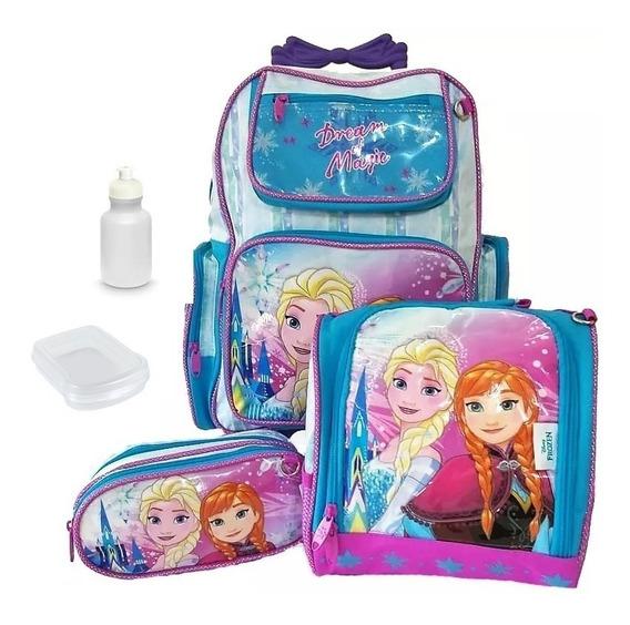 Kit Mochila Infantil Frozen Elsa Rodinha Escolar Linda 2019