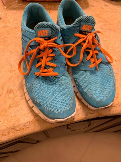 Tennis Nike + Azules Con Cintas Naranjas