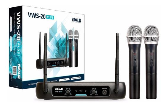 Microfone Sem Fio Duplo De Mão Vokal Vws20 Plus Vhf Usa Pilhas