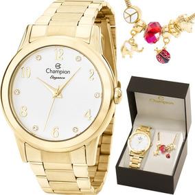 Relógio Champion Feminino Dourado Cn26751s + Pulseira