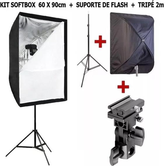 Kit Softbox 60 X 90cm + Suporte Para Flash + Tripé 2m