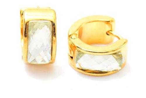 Aretes Broquel De Acero Inox Dorado C Piedra Transparente