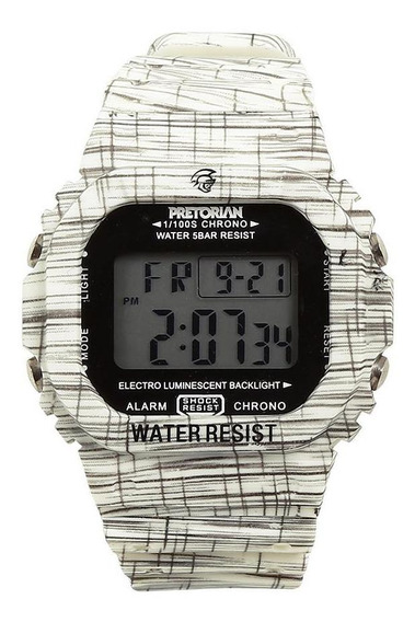 Relógio Pulso Digital Pretorian Pulseira Borracha Estampada