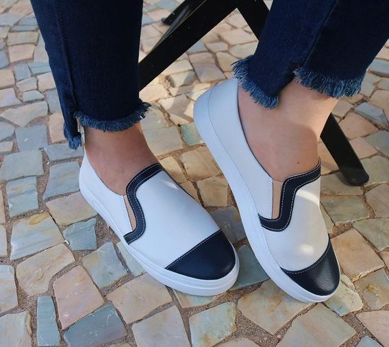 Tenis Feminino Slip On Branco Com Azul Marinho