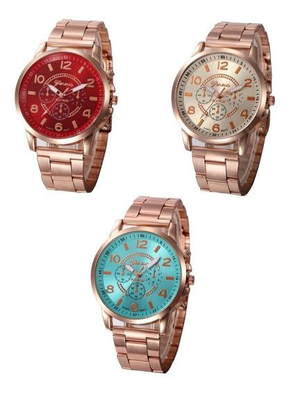 Kit 3 Relógio Feminino Geneva Aço Inoxidável Em Caixa M D F