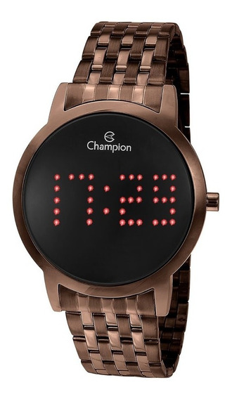 Relógio Led Champion Ch40008r Chocolate