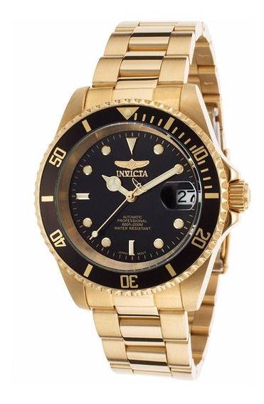 Relógio Invicta Automático Ouro 18k Plated Ss Black Dial