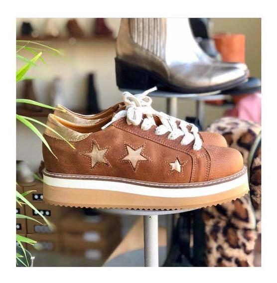 Zapatilla Mujer Plataforma Sneakers Bendito Cuero Estrellas