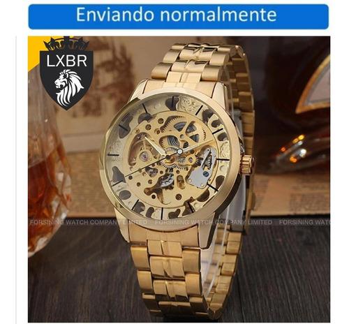 Relogio Automatico Esqueleto Dourado Automatico Lxbr R60