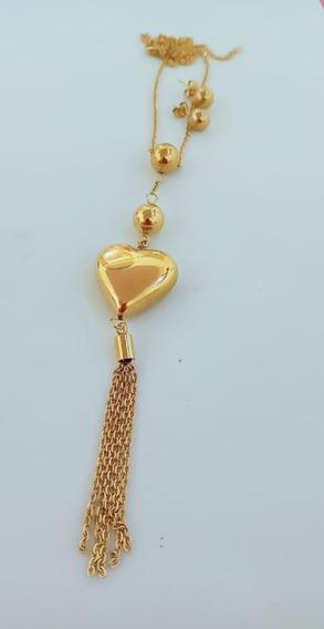 Collar Corazón Dorado Y Aretes Acero Inoxidable