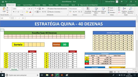 Planilha Da Quina - Jogue Com 40 Dezenas - Ótimas Garantias
