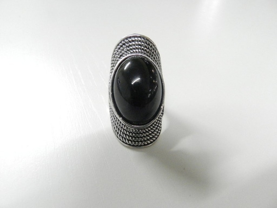 Anel Prata Com Pedra Preta