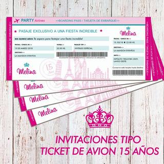 Invitaciones De 15 Tipo Ticket En Mercado Libre Argentina