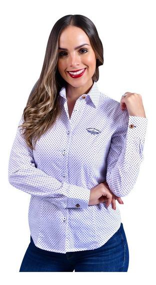 Camisa Mujer Porto Blanco Manga Larga Blanca Puntos