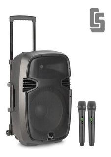 Bafle Activo Portatil A Batería 12 160w 2 Mics Y Bluetooth