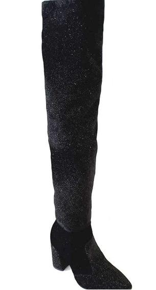 Bota Bucanera Mujer Crysalis Gamuza Con Brillo Taco 8cm
