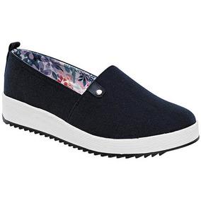 Zapatos Casual Flats Dash Dama Textil Azul Marino 23285 Dtt