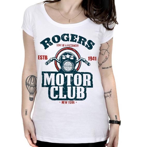 Camiseta Feminina Capitão América - Rogers Motor Club